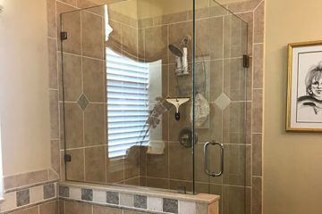 Sandblasted glass shower door